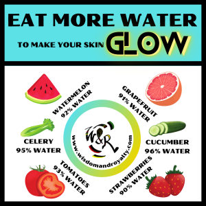 Some fruits and veggies that contain over 90% of water that will also help to make your skin glow!