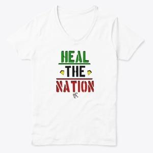 Heal The Nation Women's Classic V-Neck Tee - White